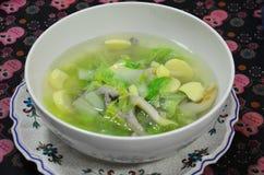 Minestra delicata con la farina delle verdure, della carne di maiale e di fave Immagini Stock