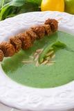 Minestra dell'aglio selvaggio con parmigiano Fotografia Stock
