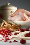 Minestra dell'erba del pollo Fotografie Stock