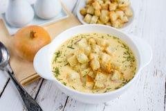 Minestra della cipolla con formaggio Immagine Stock