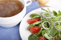 Minestra della cipolla ed insalata II Immagini Stock Libere da Diritti