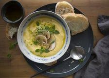 Minestra della crema del formaggio con i funghi, le erbe ed il pane bianco in piatto grigio su fondo di legno immagini stock libere da diritti