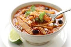 Minestra della tortiglia, cucina messicana Fotografie Stock
