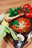 Minestra della tortiglia del pollo con la verdura fresca fotografia stock