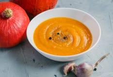 Minestra della zucca con aglio e pepe e zucche organiche, spazio della copia Alimento stagionale di autunno fotografie stock libere da diritti