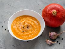 Minestra della zucca con aglio e pepe e zucche organiche, vista superiore, spazio della copia Alimento stagionale di autunno immagini stock