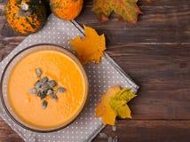 Minestra della zucca di autunno Fotografia Stock