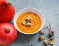 Minestra della zucca e zucche organiche, vista superiore, spazio della copia Alimento stagionale di autunno - minestra piccante d fotografia stock