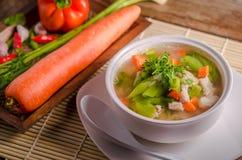 Minestra delle carote e di luffa, alimento tailandese Fotografia Stock Libera da Diritti