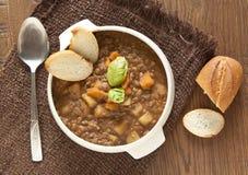 Minestra di lenticchia fresca con la patata Immagine Stock