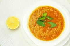 Minestra di lenticchia turca su un piatto con la menta ed il limone immagini stock libere da diritti