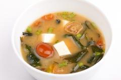 Minestra di miso, cucina giapponese, ciotola Immagini Stock Libere da Diritti
