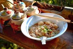 Minestra di pasta con porco Fotografia Stock