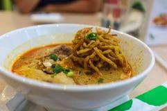 Minestra di pasta tailandese del curry di stile Fotografia Stock