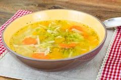 Minestra di pollo con i broccoli, carote e sedano, zucca e Nood Fotografia Stock