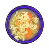 Minestra di pollo robusta con pasta e le carote Immagini Stock