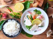 Minestra di pollo tailandese di galanga in latte di cocco o in Tom Kha Gai cremoso fotografia stock