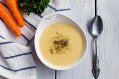 Minestra di verdura con sedano, la carota, la cipolla e la salsa besciamella Immagini Stock Libere da Diritti
