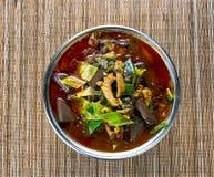 Minestra di verdura piccante di recente cucinata in vaso sul backgro di bambù della stuoia immagine stock