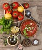 Minestra di zuppa di verdure fredda del pomodoro fotografia stock libera da diritti