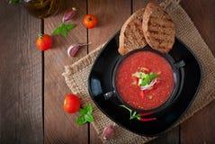 Minestra di zuppa di verdure fredda del pomodoro immagini stock libere da diritti