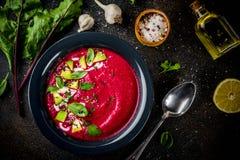 Minestra di zuppa di verdure fredda della barbabietola Fotografie Stock Libere da Diritti