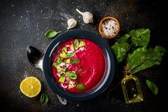 Minestra di zuppa di verdure fredda della barbabietola Fotografia Stock Libera da Diritti