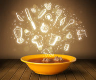 Minestra domestica del cuoco con le icone bianche disegnate a mano Immagine Stock