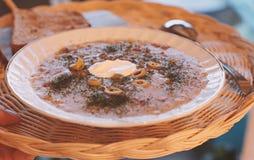 Minestra e pane sul ristorante di vimini del vassoio a casa immagini stock libere da diritti