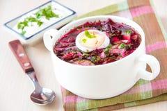 minestra estiva lituana fredda tradizionale fatta delle barbabietole cetriolo immagini stock libere da diritti