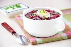 minestra estiva lituana fredda tradizionale fatta delle barbabietole cetriolo fotografia stock