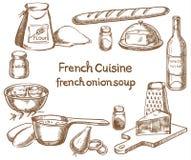Minestra francese della cipolla, ingredienti Immagine Stock Libera da Diritti