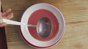 Minestra fredda del pomodoro con sedano video d archivio