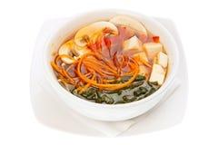 Minestra giapponese con il formaggio del tofu e dell'alga Fotografia Stock