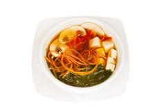 Minestra giapponese con il formaggio del tofu e dell'alga Fotografie Stock Libere da Diritti