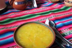Minestra peruviana tipica dell'altopiano della quinoa Fotografia Stock Libera da Diritti