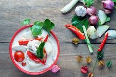 Minestra tailandese del latte di cocco di stile Fotografia Stock Libera da Diritti