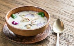 Minestra tailandese della crema della noce di cocco Immagini Stock