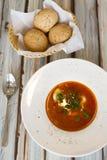 Minestra ucraina o russa del borscht con pane fotografia stock