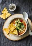 Minestra vegetariana del pomodoro della quinoa con le patatine fritte, l'avocado ed il coriandolo del formaggio del cereale su fo immagine stock libera da diritti