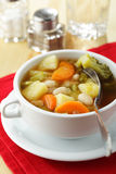 Minestrone. In white bowl on a napkin Stock Image