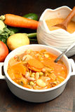 Minestrone. With fresh vgetables on wooden table Royalty Free Stock Photo