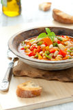 Minestrone. Bowl of minestrone soup with bread Stock Photo