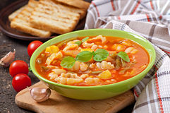 Minestrone. Italian vegetable soup with pastav Royalty Free Stock Images