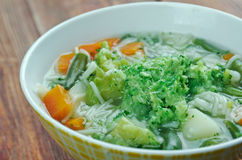 Minestrone alla genovese. Italian soup with pasta and pesto Stock Images
