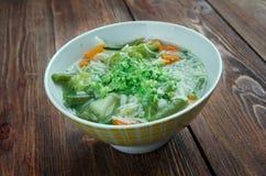 Minestrone alla genovese. Italian soup with pasta and pesto Stock Image