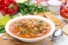 minestrone com vegetais, feijões e pão torrado Fotos de Stock