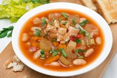 Minestrone com vegetais, tomates, feijões e pão torrado Fotos de Stock Royalty Free