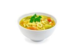 Minestrone da sopa com salsa na bacia branca Fotografia de Stock Royalty Free