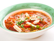Minestrone. Isolated on white background Stock Photos